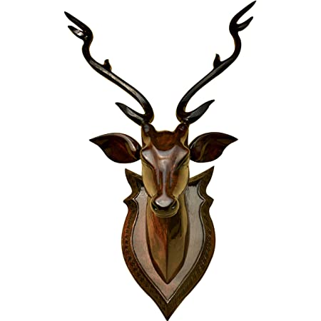 BK . ART & CRAFTS wooden handicraft 50 cm high DEER HEAD with horn - showpieces for wall decoration - Home decor
