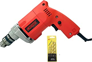 Cheston 10mm Powerful Drill Machine for Wall, Metal, Wood Drilling with 5 pcs Wall bits for Concrete Drilling