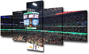 Sports Room Decorations Chicago United Center Stadium Paintings NBA - Chicago Bulls Pictures 5 Piece Canvas Wall Art Home ...