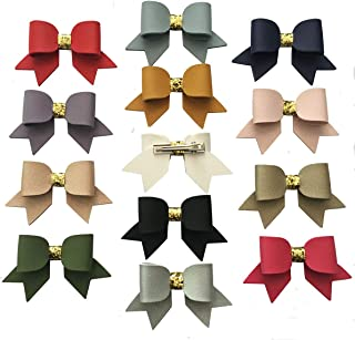 Yazon 3.3 Inch Leather Bows Hair Clips Baby Girls Boutique Hair Bows Clips Pack of 13