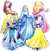 Jolly Jon Disney Princess Birthday Party Balloons - 5 XL Super Shape Decorations – Giant Size Belle Cinderella Elsa – Jumbo Snow White & Sleeping Beauty - Beautiful Balloon Bouquet - Bundled