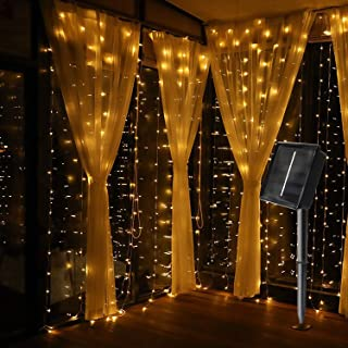 MagicLux Tech 300 LED Solar Curtain String Lights 8 Mode Decorations for Window, Garden, Yard, Patio, Pavilions, Fences, Flower Sheds, Christmas, Tree, Party, Holiday, Wedding Outdoor Indoor Walls
