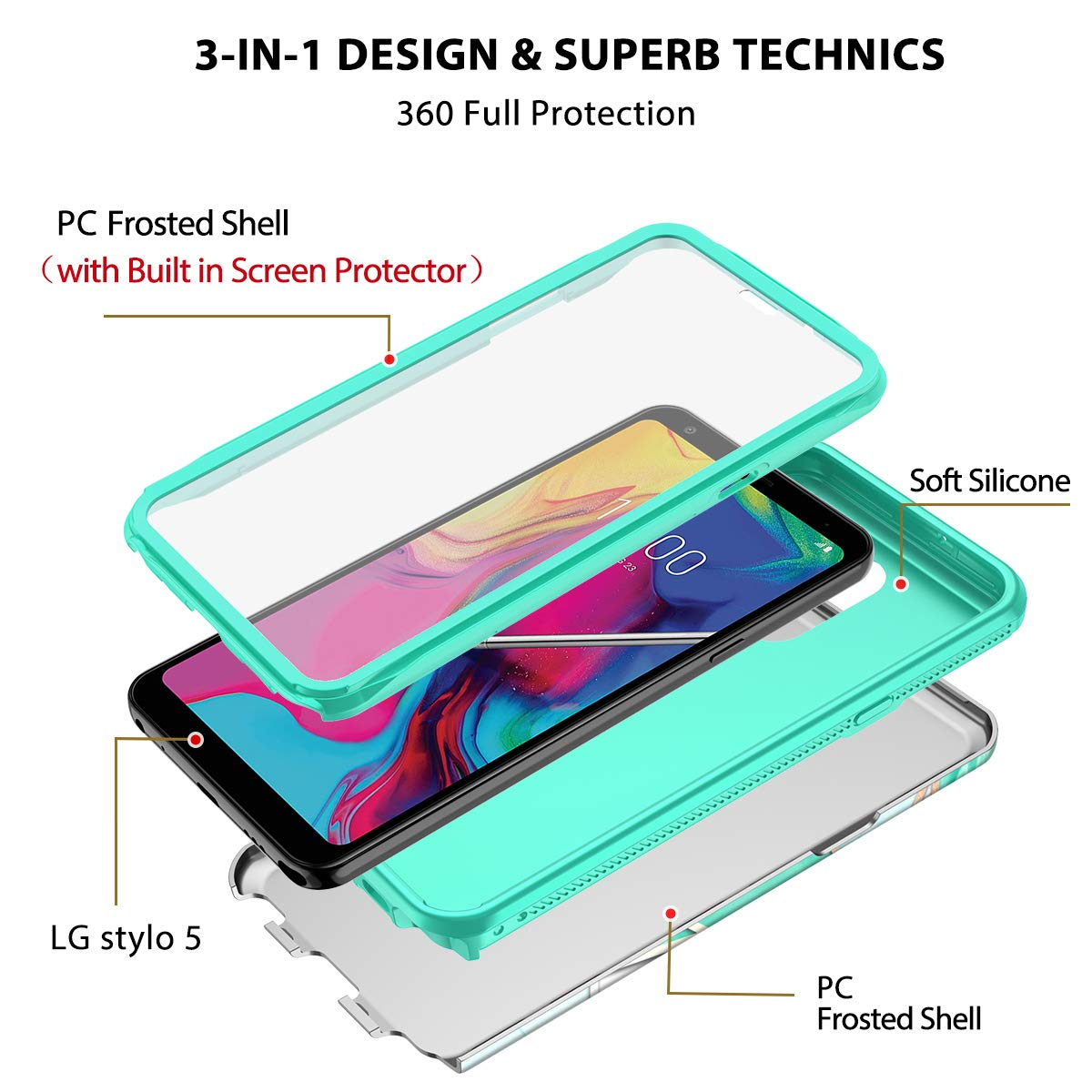 Full-Body Protective Rugged Matte Bumper Cover with Built-in Screen Protector Support Wireless Charging Shockproof Impact Durable Case E-Began Case for iPhone 11 Pro Max -Clear 6.5 inch 2019