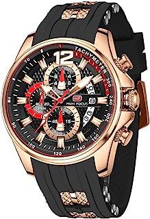 Mens Watch Waterproof Sport Casual Watch for Men Multifunction Chronograph Fashion Quartz Wristwatches Calendar with Silic...