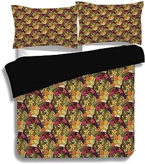 KUDOUXIA Black Duvet Cover Set King Size,Ethnic,Bohemian Style Colorful Bouquet Herb Summer Inspired Oriental Artwork,Olive Green Purple Pink,3 Pcs Bedding Set 2 Pillow Shams