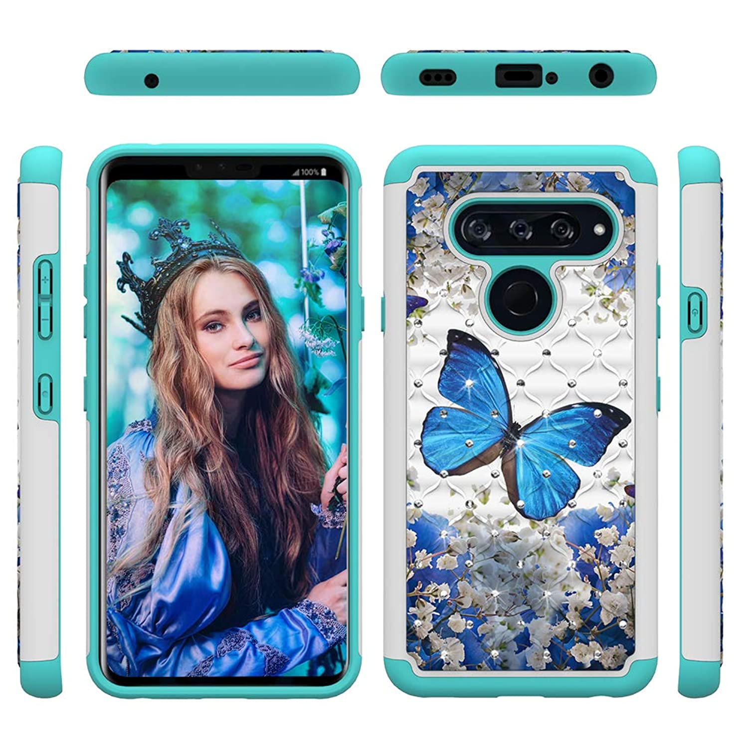 LG V40 ThinQ Case, LG V40 Case, MOLLYCOOCLE Stand Feature Diamond Glitter Blue Butterfly Double Layer Heavy Duty Design TPU Soft Bumper Hard PU Ultra Protect Cover for LG V40 ThinQ/LG V40