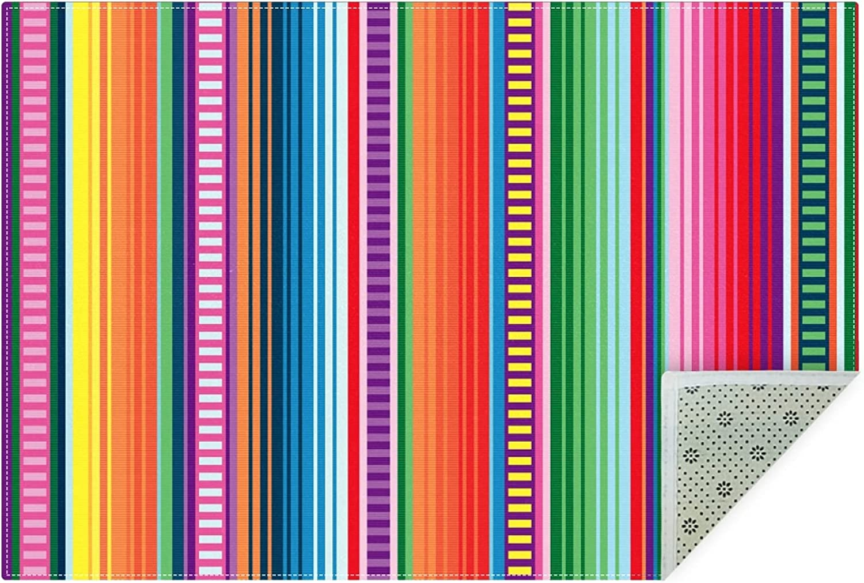 Boho Stripe Colorful New product type Sale item Large Area Non-Slip Feet fo 3x5 Rugs