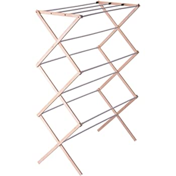 Household Essentials 5001 Collapsible Folding Wooden Clothes Drying Rack For Laundry   Pre Assembled