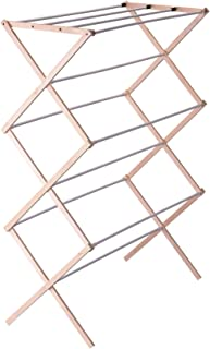 Household Essentials Collapsible Folding Wooden Clothes Drying Rack for Laundry, Pre Assembled