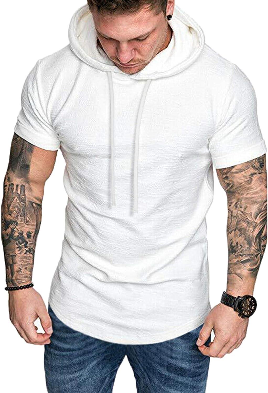 COOFANDY Mens Slim Fit Short Max 82% OFF Hoodie Lightweight White Ranking TOP17 Sleeve