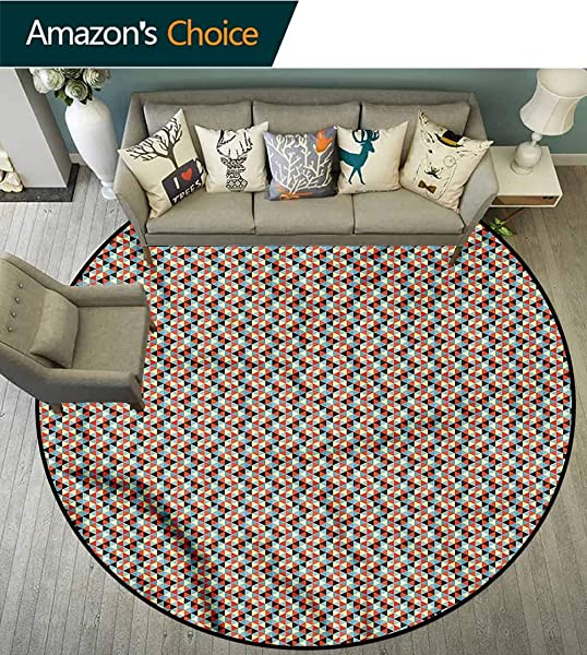 橄榄球抽象三角防滑区域地毯垫圆形几何网格婴儿房装饰圆形地毯直径 71