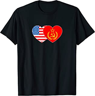 SSSR & USA Flag Twin Heart for Soviet Americans Patriotic T-Shirt