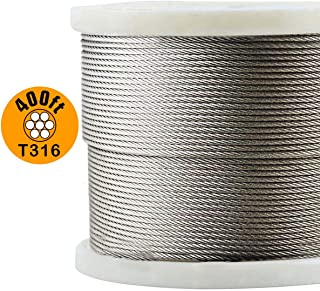 T316-Stainless Steel 1/8'' Aircraft Wire Rope for Cable Railing Kit,Marine Grade