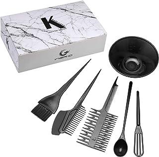 CCbeauty Hair Coloring Kit Salon Dyeing Color DIY Dressing Tools Tint Mixing Brush Comb Bowl 6 Pcs Set (Black)