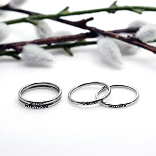 2mm *Shiny Finish* Stackable Stainless Steel Personalized Custom Stacking Name Rings Set
