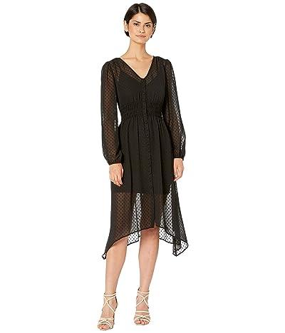 kensie Circle Swiss Dot Ruched Waist Long Sleeve Button Front Dress KS7K8417 (Black) Women