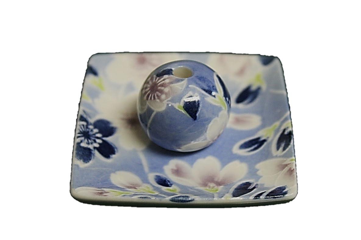 電気の裸好色な青染桜 小角皿 お香立て 陶器 ACSWEBSHOPオリジナル