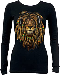 Interstate Apparel Inc Junior's Dreadlock Rasta Lion Headphones Tee Black Long Sleeve T-Shirt Black