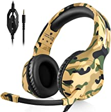 Anksono Stereo Gaming Headset for Playstation 4, Xbox One, Nintendo Switch, 3.5mm Wired Bass Noise Cancelling Headphones with Mic and Volume Control for Laptop PC Mac iPad iPhone Games, Camo Yellow