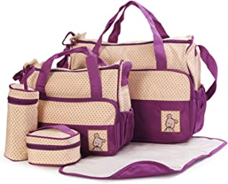 Leather Collections Diaper Wallet Set,Nappy Tote Wallet Large Capacity for Baby Mom Dad, Multi-Function, 5 Pieces Waterproof (Color : Purple)