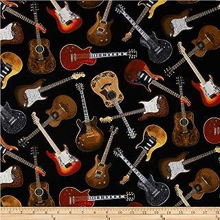 guitar print fleece fabric