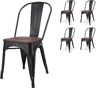 KOSMI Lote de 4 sillas de estilo industrial negro y madera industrial en metal negro mate y asiento de madera oscura
