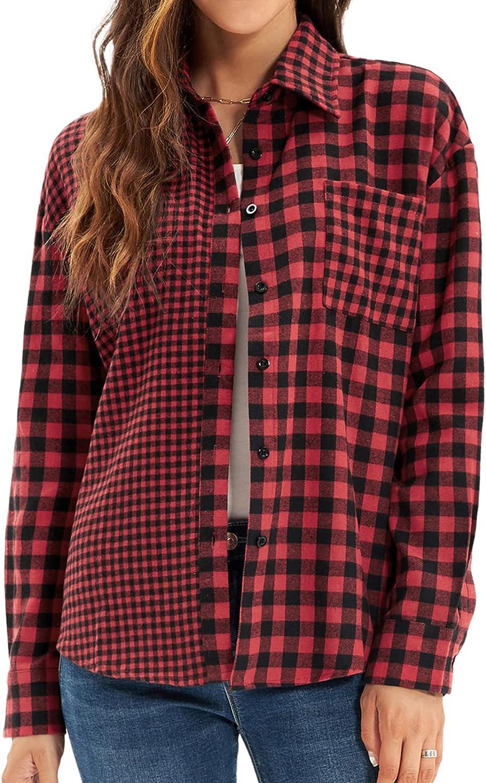 GRACE KARIN Women Long Sleeve Plaid Shirt Casual Botton Up Blouses Tops Pockets
