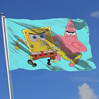 LJIAQI Spongebob and Pickstar Flag 3x5 Ft Single-Sided Printed Polyester Home Flag Banner