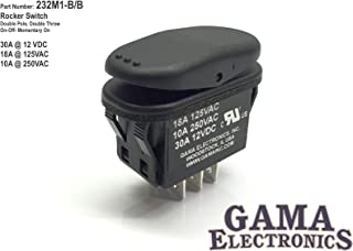 GAMA Electronics Waterproof 30 Amp Double Pole 3 Position On-Off-Momentary On Rocker Switch DPDT