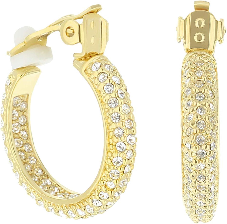 Pave Hoop Earrings - Clip-On