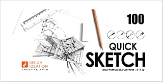 "Design Ideation Quick Sketch Paper : Multi-Media Paper for Pencil, Ink, Marker and Charcoal. Great for Art, Design and Education. Ideal for Quick Sketching. Made in The USA. (6"" x 12"") (100)"