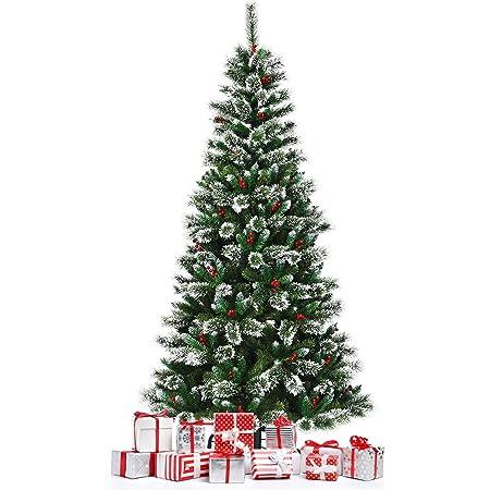 Materiale in PVC 1400Tips, 2.25M YOUKE Albero di Natale Artificiale di Pino Dolce Glassato Decorato con Pigne e Bacche Rosse,Facile da Installare
