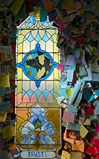 Photograph- Each dog-themed stained-glass window has a theme (see its title) at the Dog Chapel, indeed, a quite serious chapel devoted to departed and/or beloved canine pets 3 30in x 44in