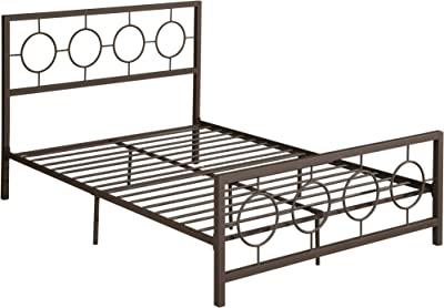 Doris Queen-Size Geometric Platform Bed Frame, Iron, Modern, Low-Profile, Hammered Copper