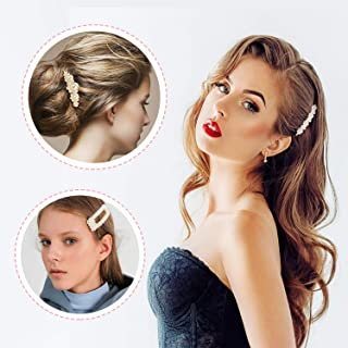 Pearls Hair Clips for Women Girls - 3 Artificial Pearl Barrettes Decorative Hair Pins for Birthday Valentines Day Gifts Wedding Bridal Hair Accessoriespcs (3 pcs Hair Pins)