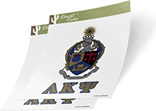 Alpha Kappa Psi Letter 2-Pack Decal Greek for Window Laptop Computer Car AKPsi (Crest Sticker)