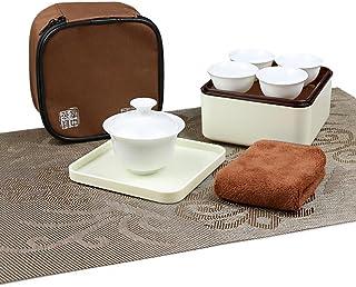 Hoobar Simple Style Gongfu Tea Set Travel Portable Tea Set Mini Kungfu Tea Pot and Tea Cups Suit with a Portable Travel Bag