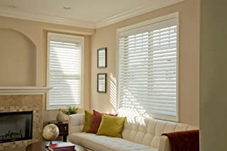 """Norman Blinds Custom-Made 2 ½"""" Slats Faux Wood Horizontal Routless ,Smart Privacy Blinds with Easy Mount Valences-Pure White (60x54)"""