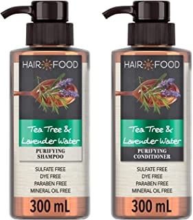 Hair Food Sulfate Free Purifying Shampoo and Conditioner with Tea Tree & Lavendar Water,2 x 300 ml