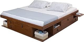 Memomad Bali Storage Platform Bed with Drawers (King Size, Caramel)