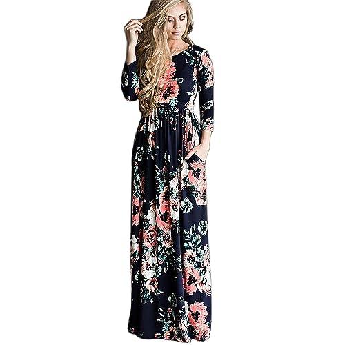 1bece6698a IHAYNER Women s Floral Printed Long Dress Vintage Flower Casual Floor  Length Maxi Dress