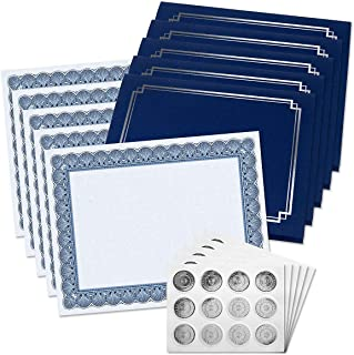 Classic Elite Award Certificate Collection with Silver Seals - Includes 25 Blank-Inside Certificate Papers, 25 Heavy Linen Blue with Silver Border Certificate folders, 25 Silver foil Seals