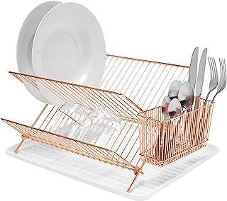 Simplywire - Escurreplatos plegable con soporte para cubiertos, color cobre