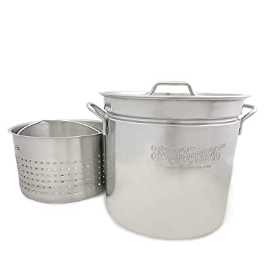 Bayou Classic 1124 1124-24-qt Stainless Stockpot with Basket, 24 quart, Silver