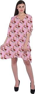 RADANYA Floral Short Casual Cotton Kaftan Evening Summer Beach Dress Caftan for Women