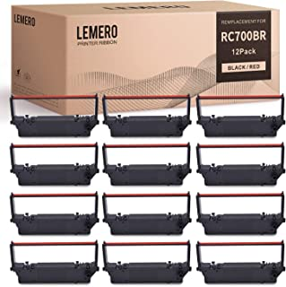 LEMERO Compatible Ink Ribbon Replacement for Star RC700BR RC700 Use in Star SP700 RC700 SP712 SP712R SP717 SP742R SP747 SP740 (Black Red, 12 Pack)
