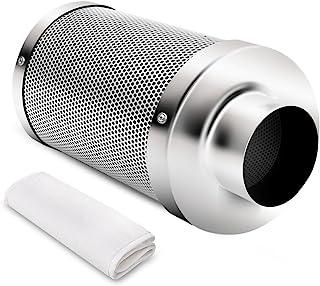 iPower GLFANXINL4FILT4M 4-Inch Carbon Filter w/ 1050+ IAV Australia Virgin Charcoal,Pre-Filter Included,Reversible Flange...