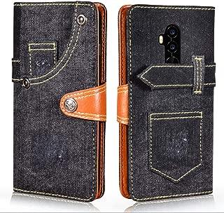 Umidigi Z2 ケース 手帳型 カバー 財布型 本格デニム風 Umidigi Z2 Proケース 手帳型 高級PUレザー サイドマグネット カード収納 スタンド機能 Qi充電対応 SLKJ (デニム風 ブラック)