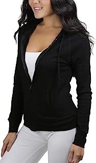 ToBeInStyle Women's Long Sleeve Full Zip-Up Thermal Hoodie