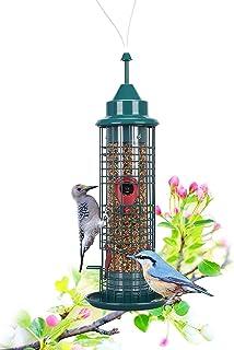 TOTORO Bird Feeders for Outside,Finch Feeder and Wild Bird Feeders with 4 Feeding Ports Tube Bird Feeders Hanging Green